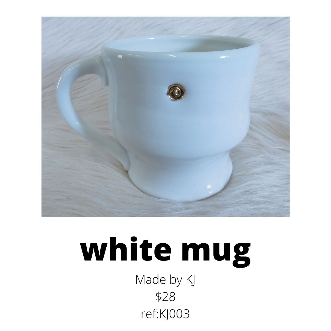 KJ mug white with gold accents